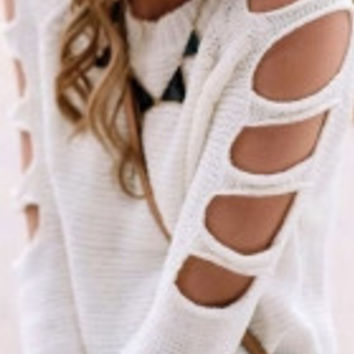 White Cut out Shoulder Knit Sweater