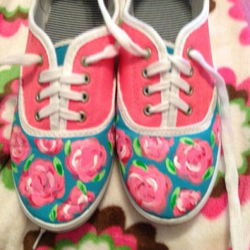 """Lilly Pulitzer Inspired Hand Painted Shoes """"First Impressions"""""""