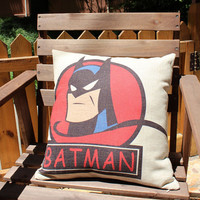 cotton linen Fabrics shade red pillow sham Retro Batman Pillow Cover pillow pattern Cartoon Batman shape cushion cover case pillowcase 18x18