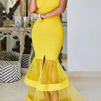Yellow Patchwork Grenadine Draped Slit Off Shoulder Backless Elegant Banquet Party Maxi Dress