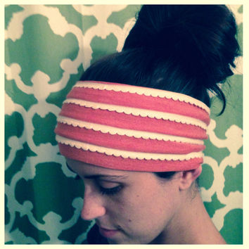 Handmade stretch wide headbands with elegant scalloped trim