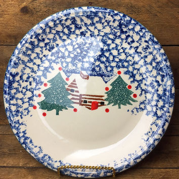 "Cabin in the Snow Plate Folk Craft by Tienshan 10.5"" diameter"
