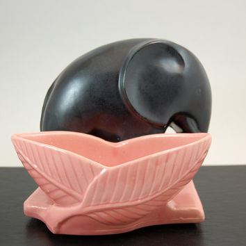 Shawnee Pottery Planter, Black Elephant with Pink Leaves and Base, Mid Century Made In USA