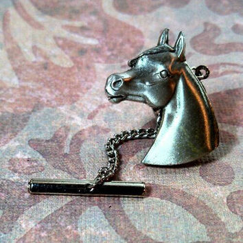 Fabulous horse pony head equestrian pewter silver color tie tack pin