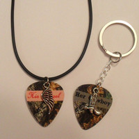 Her Cowboy boot His Angel wing charm guitar pick matching necklace keychain set country love girl guy