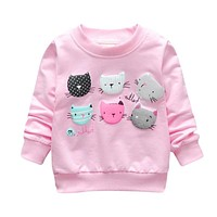 Children Hot Pink Top Girls T Shirts Print Cartoon Cat Sweatshirts Spring Kids Clothes Long Sleeve Baby Pullover Girls Clothing