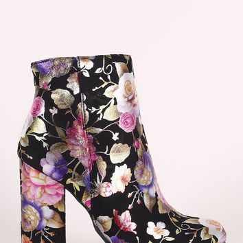Bamboo Suede Floral Accent Chunky Heeled Booties