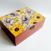 Trinket box decoupage beautiful flowers keepsake box big box brown yellow blue keepsake box