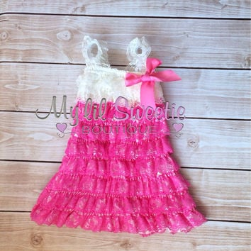 New Bubblegum pink and ivory dress, newborn dress, Lace dress, baby girl outfit, special occasion dress, toddler dress, girls dress,