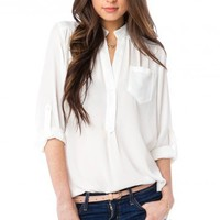 Pure Colora Blouse in White - ShopSosie.com