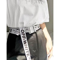 OFF WHITE Trending Women Men Stylish Cool Black Word Canvas Belt Silver&White