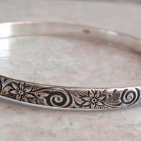 Sterling Bangle Bracelet Floral Swirl Vintage V0502