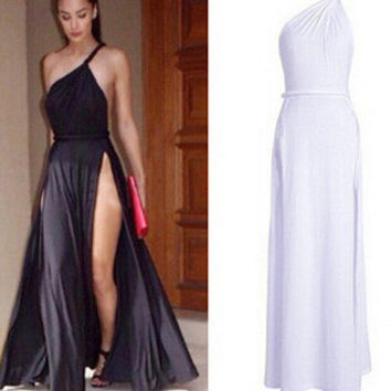 Hot Sale Spaghetti Strap Sexy Backless One Shoulder Prom Dress One Piece Dress [6339093697]