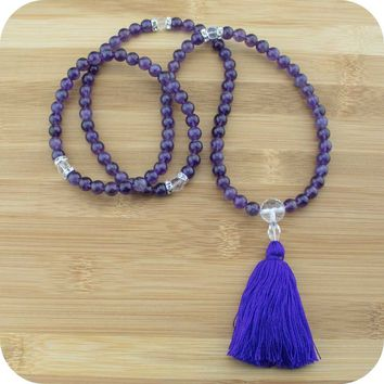 Amethyst Mala with Quartz Crystal