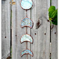 Elemental Moon phase, stained glass, moon phase, glass, wall decor, elemental, water, texture, decor, art, wall art, moon, garden decor,cool