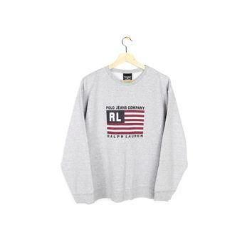 90s RALPH LAUREN POLO sweatshirt - vintage 1990s - american flag logo sweater - medium