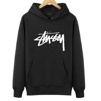 DCCKUNT Trendy Stussy Print Casual Loose Sports Hoodies Pullover Sweater