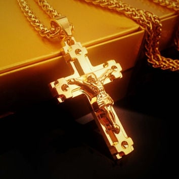 My Salvation Hip-Hop Jesus Cross Pendant Necklace Gold Gift
