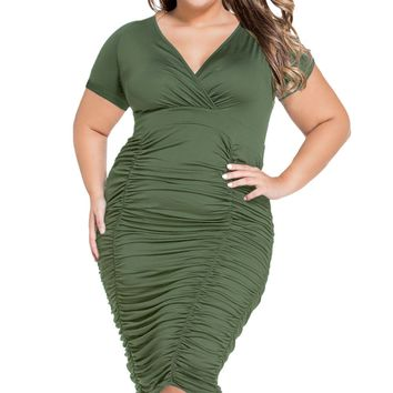 Army Green Pleated Curvaceous Midi Dress