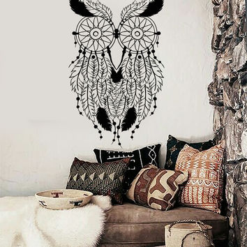 Vinyl Wall Decal Owl Feathers Dream Catcher Bedroom Decor Stickers (ig4008)