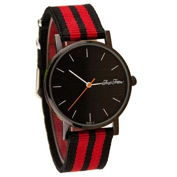 Casual Pointer Dial Striped Canvas Band Quartz Wrist Watch