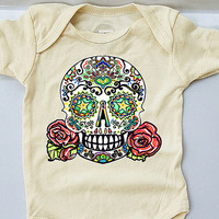 Punk Baby Girl Clothes. 3, 12, 18 months Ivory Skull and Roses Tattoo Rockabilly Bodysuit Trendy Baby Shower Gift