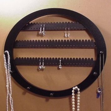 Earring rack and Necklace holder, holds about 70 earring pairs, 7 PEGS Wall mounted OVAL