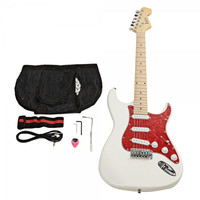 Pearl-shaped Pickguard Electric Guitar White with Bag Strap Tool Pick