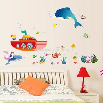 Free Shipping 2016 new arrival Home decor The dolphin Mermaid ship bedroom/parlour Background wall sticker