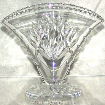 Vintage retro Crystal Cut Glass oval shaped Flared bud Posy Vase with a fan cut design crimped edge c1970's  (ref: 185)