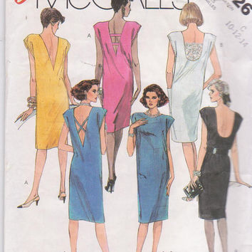 Vintage 1980s pattern for straight, sleeveless summer or party dress with deep V or U back misses size 10 12 14 McCall's 2026 UNCUT