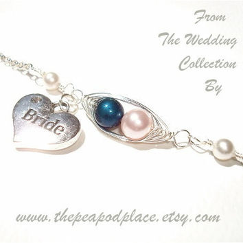 Personalized Brides Pearl Bracelet - 2 peas in a pod with bride heart charm - something blue - wedding jewelry