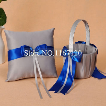 Free Shipping,Silver Gray and Royal Blue Bowknot Satin Wedding Flower Girl Basket and Ring Pillow Set  Wedding Diy Decor(BR08)