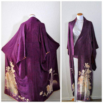 Antique Japanese Kimono Purple Silk Robe Floral Art Deco Flapper 1930s Yuzen Crepe Silk Authentic Asian Gown