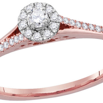 10kt Rose Gold Womens Round Natural Diamond Solitaire Bridal Wedding Engagement Ring 1/5 Cttw
