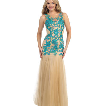Teal & Nude Embellished Sheer Rose Tulle Gown 2015 Prom Dresses