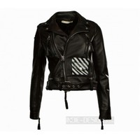 Indie Designs Off White Inspired Stripes Women Leather Jacket