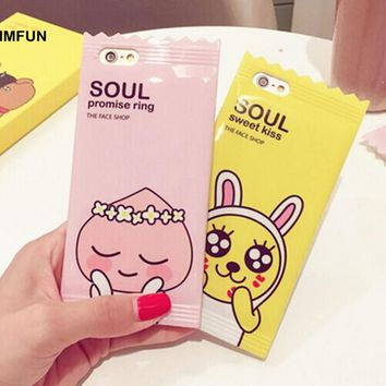 GIMFUN Kawaii Cartoon Pink yellow Candy case Cute Animal Tpu Silicone Case Cover for iphone 6 6s 6plus 7 7plus 8 8plus Lanyard