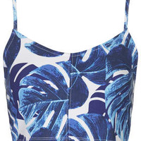 Palm Print Bralet - Blue