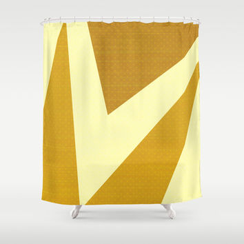 Cream, Mustard and Brown Triangles and Polka Dots Shower Curtain by Kat Mun | Society6