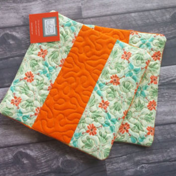 Quilted Hot Pads - Set of 2!  Orange and teal hot pad, trivet, hot pad, kitchen decor, tableware, table linen