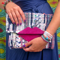 Lippy Boho Chic Kilim Clutch, Hot Pink Lips, Fun Boho Clutch Purse