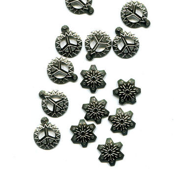 snowflake filigree & peace sign charms pendant 14 piece silver metal 15mm, 16mm jewelry findings