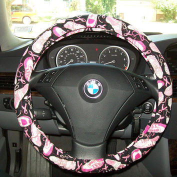 Custom Breast Cancer Sneaker Steering Wheel Cover