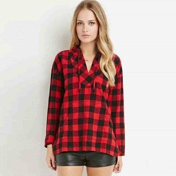 Plaid Shirt Long Sleeve Hats [11335935879]