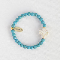 Liv•N•Grace Turquoise Beads with White Cross Bracelet