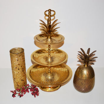 Vintage Large Brass Pineapple Tray Hollywood Regency Brass Pineapple Tray 3 Tier Tidbit Server
