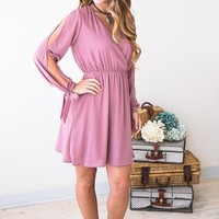Totally Crushin' Arm Detail Mauve Dress