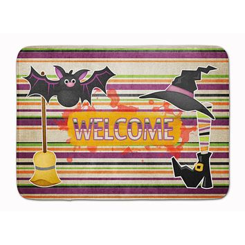 Witch Costume and Broom on Stripes Halloween Machine Washable Memory Foam Mat SB3010RUG