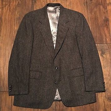 Vintage Wool Herringbone 2-Button Jacket Nicks of San Mateo Mens Sport Coat 44R